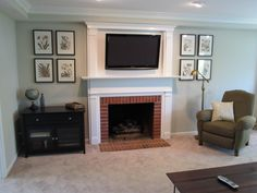 TV built in above mantle. Walls are BM Sedate Gray