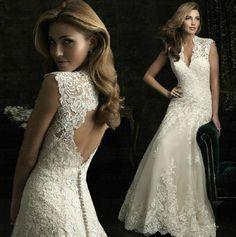 White Ivory Lace Bridal Gown Wedding Dresses Custom Size 2 4 6 8 10 12 14 16 18 #lace