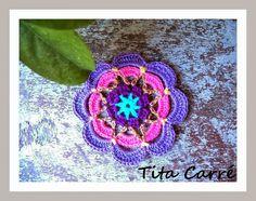 Tita Carré  Agulha e Tricot : Flor Lilás em crochet no meu quintal
