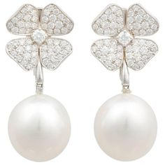 Ella Gafter White South Sea Pearl Diamond Flower Dangle Drop Clip-on Earrings | From a unique collection of vintage Drop Earrings at https://www.1stdibs.com/jewelry/earrings/drop-earrings/.