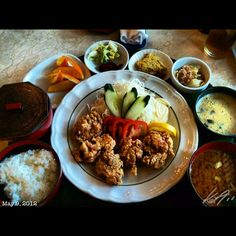 ささ浜で唐揚げ定食 #karaage #teishoku #japanese #food #lunch #philippines #フィリピン #ランチ