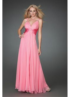 Chiffon Charmeuse A-line V-neck Prom Dresses