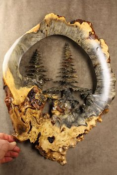 """""""Deep Forest"""" a Buckeye Burl wood carving carved by Gary Burns the treewiz, handmade woodworking Wood Projects For Kids, Kids Wood, Wood Carving Patterns, Wood Carving Art, Buckeye Burl, Antler Art, Carved Wood Signs, Wood Backsplash, Woodworking Inspiration"""