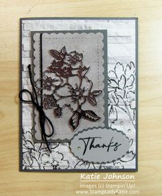 This card uses dies from Stampin'Up!'s Hand Penned bundle and Scallop Contour Dies along with Silver Foil Specialty Paper and the In Good Taste Designer Paper pack. The brick pattern designer paper is a pretty print paper for the background. StampinUp Oval Duo Punch provides the layers for the sentiment, also from the hand penned set. This video shows the easy assembly of the card as well as the heat embossing on the designer paper. Brick Patterns, Specialty Paper, Blog Images, Pen Sets, Paper Design, Emboss, Stampin Up, Print Paper, Contour