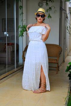 Vestido Branco Boho - Look Curvy - Boho Long White Dress - Hat - Gladiators