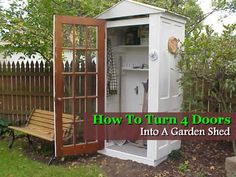 How To Turn Old Doors Into A Garden Shed I could see this as an animal proof gate/storage combo.