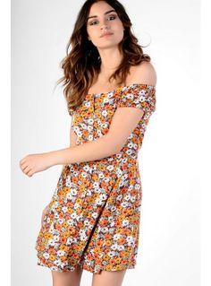 Orange Floral Print Bardot Dress