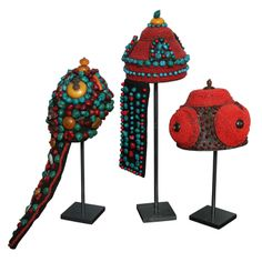 Tibet  Circa 1880  Three stunning ceremonial headdresses from the Khampa people of Tibet, comprising mountain coral, turquoise, amber and silver. These headdresses were seldom used, just twice yearly and for wedding festivals and were the most elaborate part of the ostentatious costume worn to show the prosperity of the bearer\'s family.
