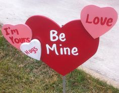 Valentine Holiday Wooden Yard Art Decoration Candy Heart Fun! Personalize…