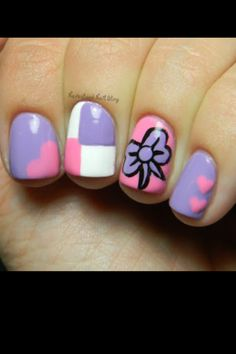 Cute purple and pink nails