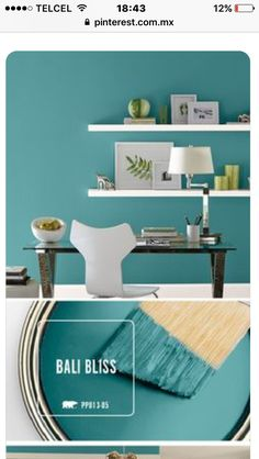 Combine ocean hues with modern decor and you get this relaxing blend of style and charm. Check out how you can use Bali Bliss to transform your every room of your home with this beautiful teal paint color. home accent Paint Color Inspiration Gallery Teal Paint Colors, Wall Colors, House Colors, Neutral Paint, Gray Paint, Wall Painting Colors, Playroom Paint Colors, Modern Paint Colors, Paint Trim