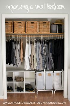 Lots of ideas for organizing a small bedroom.
