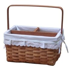 """Woodchip Picnic Caddy Basket with Lace Trim (Size: 12.2"""" Wide x 9"""" x 6.5"""" H with handle up 12""""H), Brown"""