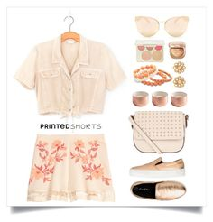 """""""apricot sorbet"""" by collagette ❤ liked on Polyvore featuring Accessorize, Quay, George J. Love, BillyTheTree, Carolee, Becca, affordable and printedshorts"""