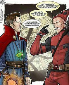 Doctor Strange and Deadpool - Haha, Deadpool knows who Dr. Strange is. Wait, did.did Dr. Strange just make a Star Trek joke? Deadpool Funny, Funny Marvel Memes, Dc Memes, Marvel Jokes, Funny Comics, Deadpool Stuff, Avengers Memes, Disney Marvel, Marvel Dc Comics