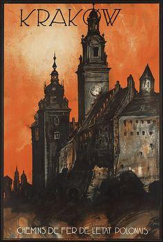 Vintage travel poster or ad for Krakow #travel #poster #Poland