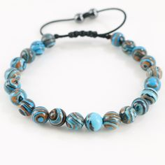 Blue Flower Agates Stone Beads Summer Holiday Trendy Bracelets Manual Braided Craft Jewelry
