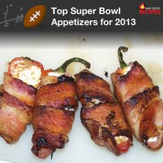 Super Bowl Top Picks: Football Appetizers -- We'll make sure you don't fumble the finger food at your Super Bowl party. These top-rated recipes are so tasty, they might disappear faster than Colin Kaepernick in the open field.    http://mantestedrecipes.com/tips/119/super-bowl-top-picks--football-appetizers.aspx