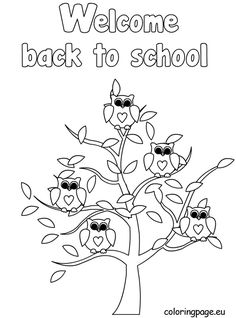 Welcome back to school owls for Welcome back coloring pages