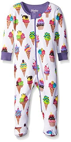 Hatley Girls Ice Cream Footed Coverall White 612 Months ** Want to know more, click on the image. (This is an affiliate link) #BabyGirlSleepwearandRobes