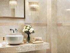 New wall tile design trends for bathroom decorating - mosaic tiles in light colours. Bathroom Design Luxury, Modern Bathroom Decor, Simple Bathroom, Loft Bathroom, Bathroom Sets, Mosaic Tile Designs, Wall Tiles Design, Mosaic Tiles, Bathroom Inspiration
