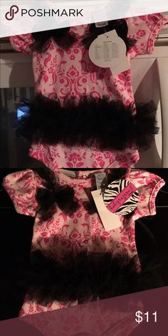 NWT Babyrageous pink black Floral Tutu Bodysuit NB This new with tags Babyrageous Bodysuit is size Newborn and made in China of 100% cotton. Bodysuit is light pink with darker pink flowers all over. There is a black Tutu sewn on with tulle bows and trim. Babyrageous One Pieces Bodysuits