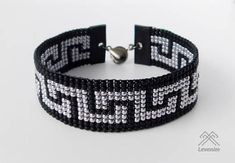 This bracelet is made using a bead loom with black frosted and metallic gunmetal seed beads. The bracelet measures approx 8 inches and is suitable for a 7 to an 8 Beading Patterns Free, Bead Loom Patterns, Bracelet Patterns, Beaded Braclets, Bead Loom Bracelets, Beaded Jewelry, Bracelets For Boyfriend, Bracelets For Men, Beaded Bracelets