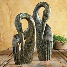 Shona People of southern Africa: Crane Sculptures represent the endangered wattled crane, a symbol of longevity Plaster Sculpture, Paper Mache Sculpture, Stone Sculpture, Sculpture Art, Pottery Animals, Ceramic Animals, Ceramic Birds, Ceramic Art, Clay Birds