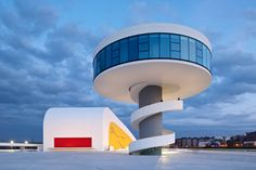 Modern architecture: round auditorium tower of the Centro Niemeyer, located in Asturias, Spain.