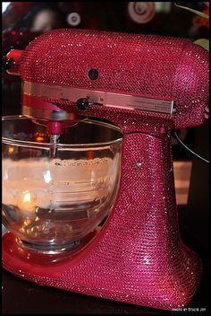 Hot Pink Bedazzled Kitchenaid mixer! I want this sooo bad!
