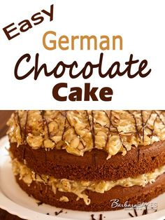 German Chocolate Cake from a mix that is moist and delicious, layered with an irresistible coconut almond frosting.