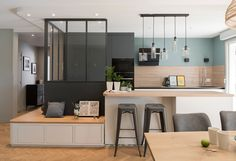 In some small spaces where you want higher utilization, you can try the Card seat design - Page 21 of 27 - zzzzllee Home Decor Kitchen, Small Spaces, Apartment Design, Home Furniture, Seat Design, House Interior, Home Deco, Sweet Home, Home Kitchens