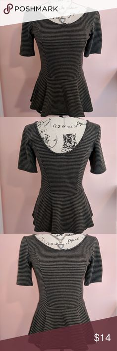 💖 Dark Gray Peplum Top Excellent condition!! Lightly used. Super cute!! Tops