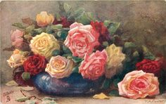 ten red. yellow & pink roses in a blue bowl others on table to right