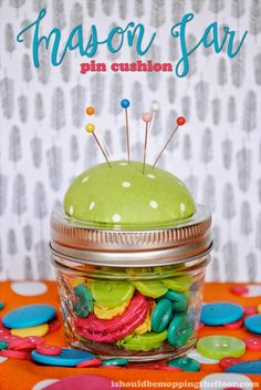 Mason Jar Pin Cushion Tutorial /// 10 other crafts, all under $5 each