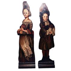 Pair of Victorian Painted Figural Dummy Boards, 19th Century
