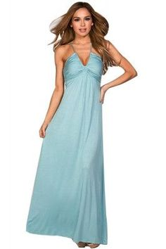 444f944a92 Baby Blue Deep V Crossover Shoulder Straps Lace Up Maxi Tube Dress