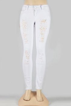 Distressed Skinny Jeans (White)