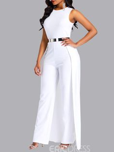 Ericdress Overlay Embellished Plain Slim Patchwork Women's Jumpsuit(Without Waistband) Asos Jumpsuit, White Jumpsuit, Silk Jumpsuit, Embellished Jumpsuit, Bridal Jumpsuit, Basic Outfits, Rompers Women, African Fashion, Ideias Fashion