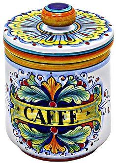 Keramikkaffeekanne - 90 / Ramina-Design - 13 cm hoch x 9 cm Durchmesser in . Ceramic Pottery, Pottery Art, Coffee Jars, Sugar Jar, Italian Pottery, Coffee Design, Ceramic Design, Hand Painted Ceramics, Porcelain Vase