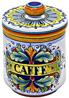 Ceramic Majolica Coffee Jar