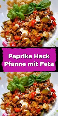 Paprika mince pan with feta - Crockpot Recipes Low Calorie Recipes, Quick Easy Meals, Meat Recipes, Healthy Dinner Recipes, Vegetarian Recipes, Quick Recipes, Queso Feta, Dinner With Ground Beef, Ground Beef Recipes