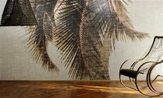 """Elitis Raffia Cuba Libre is an oversized palm tree panoramic mural wall covering that captures the look of the tropics with a modern twist.  Sold by 4 panels of 39.3"""" width X 118"""" height roll"""