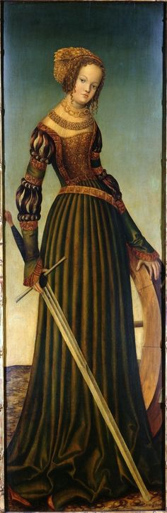 """Lucas Cranach the Elder depicts a defiant St Catherine, holding the sword that beheaded her and the wheel which failed to break her (it's the origin of the Catherine Wheel firework) (c Staatliche Kunstsammlungen, Dresden)"" Renaissance Kunst, Renaissance Fashion, Renaissance Clothing, Historical Clothing, Medieval Costume, Medieval Art, Pierre Auguste Renoir, St Catherine Of Alexandria, Lucas Cranach"