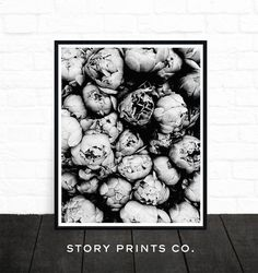Peony Print Flower Print Peony Art Black and White Poster