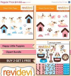 70 OFF SALE Clipart Bundle Happy Little Puppies MGB056 by revidevi