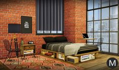 Sims 4 CC's - The Best: TS3 MS91 Industrial Rustic Bedroom Conversion by M...