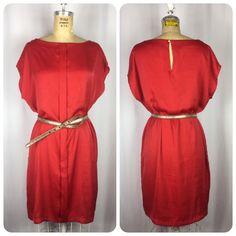 MANGO MNG Casual Bright Red Silky Satin Shift Dress. M/L #Mango #MiniShiftTunic #Casual