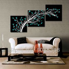 100% HandPainted 4 Season Black White Flower Tree Oil Painting On Canvas Home Wall Art Decoration Landscape Picture 3 Piece Sets US $70.00 - 75.00