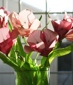 Pink Iris Origami Flowers  Paper Flowers by NikkiCrossApplesauce, $75.00